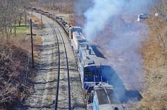 pennsylvania556 (Fan-T) Tags: union emd mp15 smoking duquesne grad jointed rail steel scrap slab pa
