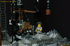 23_Endarmire_Iron_Mine (LegoMathijs) Tags: lego moc legomathijs steampunk mine miners mining rocks iron ore steampowered drones tracked driller flying discovery vehicle explorer speeder transporter transport airship clockwork drone speeders walking steamcopters pickaxe tools crates shaft cranes workshop gears cave docks