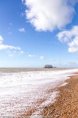 Cotton wool clouds and the West Pier, Brighton (Zoë Power) Tags: westpier beach uk brighton derelict blueskies coast sea seaside