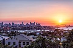 Sydney Sunset (jimmmy03) Tags: sydney sydneyharbour harbourbridge harbour newsouthwales australia sunset autumn colour sun horizon blue orange purple skyline city landscape photography