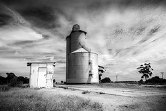 High noon (alideniese) Tags: landscape blackandwhite bw monochrome country rural countryside silo grainsilo nosmoking 7dwf alideniese dry hot weather clouds sky sunny sunshine summer greatsouthcoast kiata victoria australia