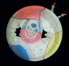 Glasbild für die Laterna Magica zum Verstellen mit Clown 2 (altpapiersammler) Tags: alt vintage old glas glass clown payaso pagliaccio кло́ун erdkugel globe globo spielzeug toy optik licht light