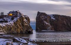 Light of Dawn (Danny VB) Tags: rock rocher percé rocherpercé light house winter snow quai dock gaspésie quebec canada canon 6d