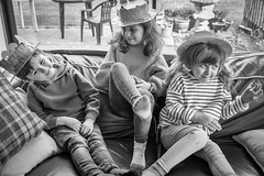 Our easter bunnies (jayneboo) Tags: easter bonnets fun kids children grandchildren leica cl bw mono family