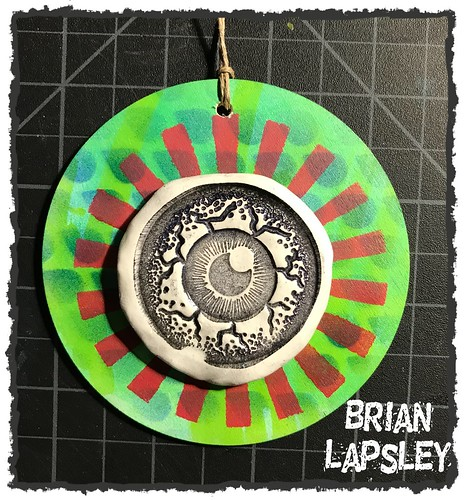 Making some wall art! Rubber Stamp, Clay, Wooden Disc, eBrush, & Paint. #art #make #craft #brianlapsley