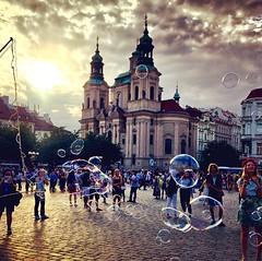 Old Town Square, Prague (Prague In Four Seasons) Tags: oldtown prague history square people church urban photography architecture sunset