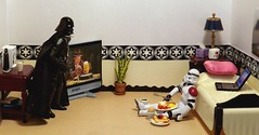 The Big Guy Wants A Little Bite on the Death Star (ChicaD58) Tags: starwarsactionfigure actionfigure stormtrooper clonetrooper stormtrooperbruce stb darthvader tv plant bed pillow laptop endtable lamp tissue mug dartboardmirror coffeemaker glassofmilk coffee softboiledegg frenchtoasttoppedwithstrawberries pancakeseggsbaconandsausageplate breakfastfordinner dscf3544c