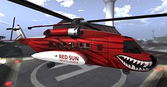 New RED SUN Sikorsky S92 Painting (cuuka) Tags: firestorm secondlife second life red sun redsun heli helicopter cuuka kushino shark teeth zebra sikorsky s 92 s92 realistic company secondlife:region=fruggoof secondlife:parcel=rocnaairfieldmarinaslrnrunway38meters secondlife:x=70 secondlife:y=118 secondlife:z=40