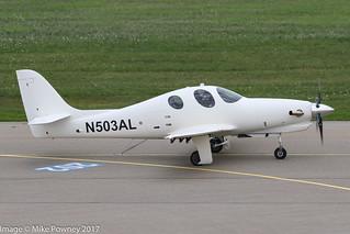 N503AL - 2013 build Lancair Evolution, taxiing for departure on Runway 24 at Friedrichshafen during Aero 2017