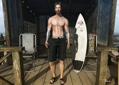 LOTD 086 (Brendo Schneuta) Tags: flow surf black 6 modulos hair gaeg beard versov glasses straydog equal xenials sandals mancave equal10 big boss necklace wrong poses pose releases event beach game avatar blog blogger style secondlifeblog secondlife second skin time board