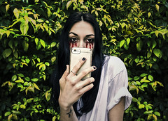 you're only as cute as your last selfie (one fran k show) Tags: selfie self portrait iphone trees leaves bushes blood eyes girl kendall jenner inspired dark hair crying hurt from screen its too bright millennial angst 2018