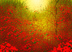 poppies all over (HocusFocusClick) Tags: flowers tree poppies red green birds light inspiration gerhardneswadba landscape painterly