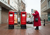 three of a perfect pair (dizbin) Tags: color candid city colour dizbin england em10 hampshire hants juxtoposition uk mzuiko olympus omd outdoors omd10 photo photograph photography people portrait portsmouth prime red post postbox letter street streetphotography urban southsea