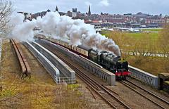 scot and spires (midcheshireman) Tags: steam train locomotive railway bridge cheshire chester mainline 46100 royalscot