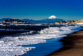 Mt. Fuji and Enoshima Iland view from the Shichirigahama beach