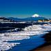 Mt. Fuji and Enoshima Iland view from the Shichirigahama beach