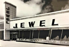 Jewel Food Store - 1950's. (Cragin Spring) Tags: illinois il midwest unitedstates usa unitedstatesofamerica jewel jewelfoodstore jewelgrocerystore architecture grocery store vintage forgottenchicago blackandwhite 1950s old