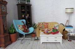 9. Skipper's living room (Foxy Belle) Tags: room diorama doll house 16 scale miniature dollhouse mid vintage skipper barbie living dog pet sofa coffee table repainted ooak scrapbook paper plants scene handmade