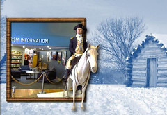 Stepping out_1 (Jen_Vee) Tags: horse winter washington general valleyforge camp encampment hut visitorscenter modern ancient today yesterday hoof uniform ride wood snow hair mane white blue statue mannequin figure history