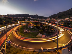 Rush hour (Ulmi81) Tags: traffic highway car road evening night lights tarmac corner curve light trail madeira portugal europe wide angel red white motion blur live composite olympus dusk blue hour transport transportation rush direction machico