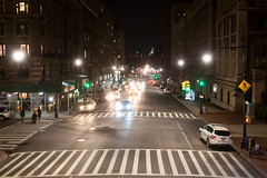 Amsterdam Avenue at Columbia University, looking downtown (jbp274) Tags: night city street newyorkcity cars traffic lights crosswalk sidewalk