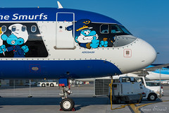 """Brussels airlines """"aerosmurf"""" / A320 / OO-SND (Jonas_Evrard) Tags: aviation airport aircraft airplane airliner spotting photography planespotting plane planes planespotter aerosmurf brussel"""