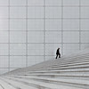 one more staircase (yushimoto_02 [christian]) Tags: paris grande arche la defense architecture line stair staircase person square wall