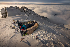 One Night with the Crooked King (peterlengyel) Tags: adventure mountain snowcapped range peak hill extreme terrain ridge remote snow hiking sleeping bag cold winter horizon summit clouds natural beauty outdoors scenic view from above inversion calm exploration explorer accomodation bed bivouac