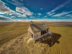 GRANT COUNTY WASHINGTON OLD SCHOOL HOUSE (LOURENḉO Photography) Tags: school house barn wheat farm country history historic art aerial drone clouds grant county schoolhouse ghost ghosttown color washington state visit usa landscape beautiful fun town far sky