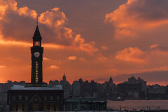 Lackawanna Sunrise (sullivan1985) Tags: lackawanna hoboken hobokenterminal hudsoncounty morning sunrise clouds red orange pink clocktower newyorkcity nj ny hudsonriver delawarelackawannawestern dlw