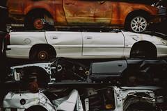 metal on metal   l  2018 (weddelbrooklyn) Tags: norderstedt kiesow schrottplatz auto autos wrack wracks metall gestapelt stapel stapeln blech nikon d5200 35mm scrapyard junkyard car cars alt old wreck wrecks metal stack pile stacked