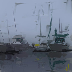 "Treasure Island Marina (""Jimmer"" ( http://jim-vance.pixels.com )) Tags: marina boats boating abstract misty seascape"