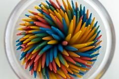 Toothpick Rainbow (hoffler_pictorials) Tags: evolv200 godox stilllife toothpicks bokeh spinning orange blue yellow green red colorful rainbows emountlenses macro ilcea6300 ad200
