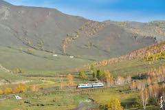Railbus RA2-001... Tunkh - Schatan span. (N.Batkhurel) Tags: season autumn landscape forest mongolia monrailpic mountian railway railfan railbus ra001 trainspotting ngc nikon nikondf 24120mm