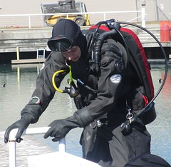 On the edge (chemsuiter) Tags: drysuit diver gear marina cleanupdive