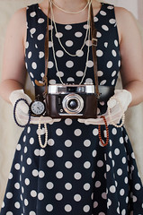 traum (wanda.w) Tags: dots fashion dress vintage retro camera analog analogue clock pearls time sixties 60s nikon nikkor lens 40mm gloves white hands body modelling art voigtländer d5100