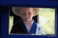 Curious (Earl Reinink) Tags: pastel painting art amish mennonite earl reinink earlreinink boy hat wagon portrait
