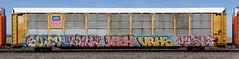 Suey/Royl/Mish/Vrhs/Vash (quiet-silence) Tags: graffiti graff freight fr8 train railroad railcar art autorack suey royl royl87 mish vrhs vash mf sws up unionpacific sp516130