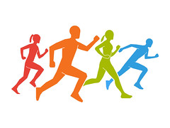 Colored silhouettes of runners. Flat vector figures marathoner. (cfdtfep) Tags: action active athlete black body boy club colored competition endurance energy exercise female fitness flat girl healthy human icon illustration isolated jogger jogging lifestyle male man marathon motion outdoor people person race run runner running silhouette sport sprint sprinter symbols training vector white woman marathoner russianfederation