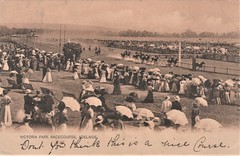 Victoria Park Racecourse, Adelaide, S.A. - circa 1906 (Aussie~mobs) Tags: vintage southaustralia racecourse victoriapark 1906 crowd spectators horseracing