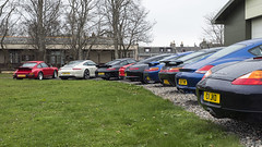 Group Rears (syf22) Tags: car vehicle automobile auto autocar automotor motor motorcar motorised sportcar transport carriage germanmade madeingermany porsche porscheclubgb porscheclubgbregion2 flatsix flat6 6cylinders boxster porscheboxster arse ass tail rear rearend back backend bottom group line lineup parking orderly wheel watercool scotland gtm grampiantransportmuseum alford aberdeenshire