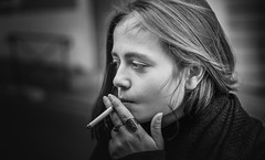 Anaelle (nycolasgorizian) Tags: black white portrait 35mm sigma photoshop lightroom canon smile girl color