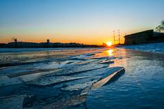 Cracks (rsvatox) Tags: saintpetersburg postcard sunset river people skyline boat dusk evening cityscape ice