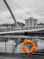 The Millennium Bridge, Gateshead, Newcastle upon Tyne, Tyne and Wear, North East England, UK. . . (CWhatPhotos) Tags: cwhatphotos orange buoy selective select color colour gateshead olympus penf pen micro four thirds camera reflection walkway photographs photograph pics pictures pic picture image images foto fotos photography artistic that have which contain newcastle upon tyne river bythe north east england uk bridge span crossing millennium blue water host city day skies thebaltic baltic buildings clouds wide angle tilt tilting reflections