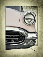 Olds #2 (madmtbmax) Tags: auto oldsmobile vintage retro hobby us usa american chrome grill bumper logo badge headlight old 50s 1950s framed frames dramatic luminar texture nikon d700