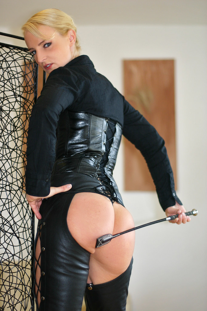 SandraB 128 (The Booted Cat) Tags: sandrab leather chaps ass whip crop  mistress