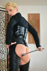 SandraB 128 (The Booted Cat) Tags: sandrab leather chaps ass whip crop mistress dominatrix blonde model girl