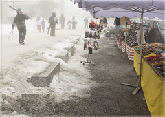 On the market ..... (Astrid Photography.) Tags: lesmenuires les3vallees lestroisvallees france market people snow winter streetshot street skiing merchandise candy fog mist