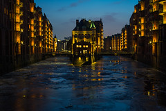 Speicherstadt (andimainka) Tags: hamburg travel bluehour ice photography passion sonyalpha zeiss composition mood speicherstadt lights contrast capture weekend cityscape elbe watercastle water