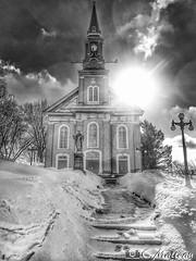 180228-16 Église Ste-Germaine (clamato39) Tags: église church religieux religion noiretblanc blackandwhite bw monochrome beauce provincedequébec québec canada ciel sky sun soleil neige snow hiver winter
